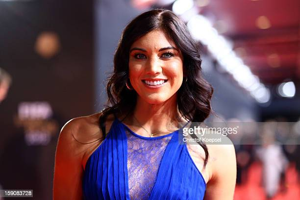 Hope Solo poses during the red carpet arrivals for the FIFA Ballon d'Or Gala 2012 on January 7 2013 at Congress House in Zurich Switzerland