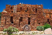 Hopi House at The Grand Canyon in Grand Canyon National Park, Arizona, USA. It is considered one of the Seven Natural Wonders of the World and stretches 277 miles long.