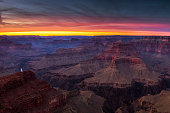 Hopi Point on the south rim of the Grand Canyon just after sunset