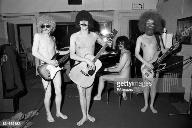 Hoping to 'streak' up the charts with their debut disc 'Everybody Wants To See A Streaker' are 'Willy Flasher The Raincoats pictured today recording...