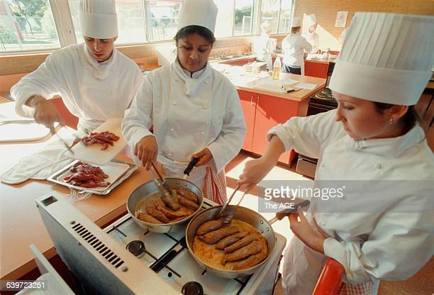 Hoppers Crossing Secondary College prepare a main course 19 May 1998 THE AGE Picture by SEBASTIAN COSTANZO