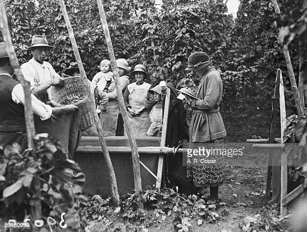 Hoppickers wait as a supervisor checks the tally at a farm in Kent September 1922