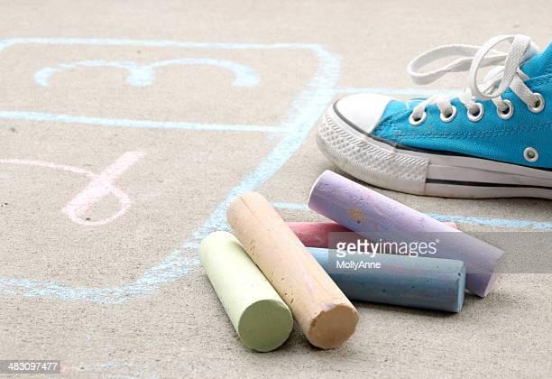 Hopscotch and Sidewalk Chalk on Cement