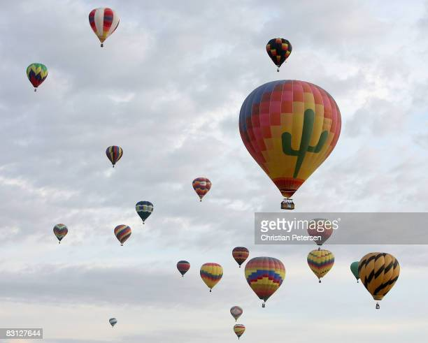 Hor air balloons soar over Balloon Fiesta Park during the Albuquerque International Balloon Fiesta on October 4 2008 This year there are over 600 hot...