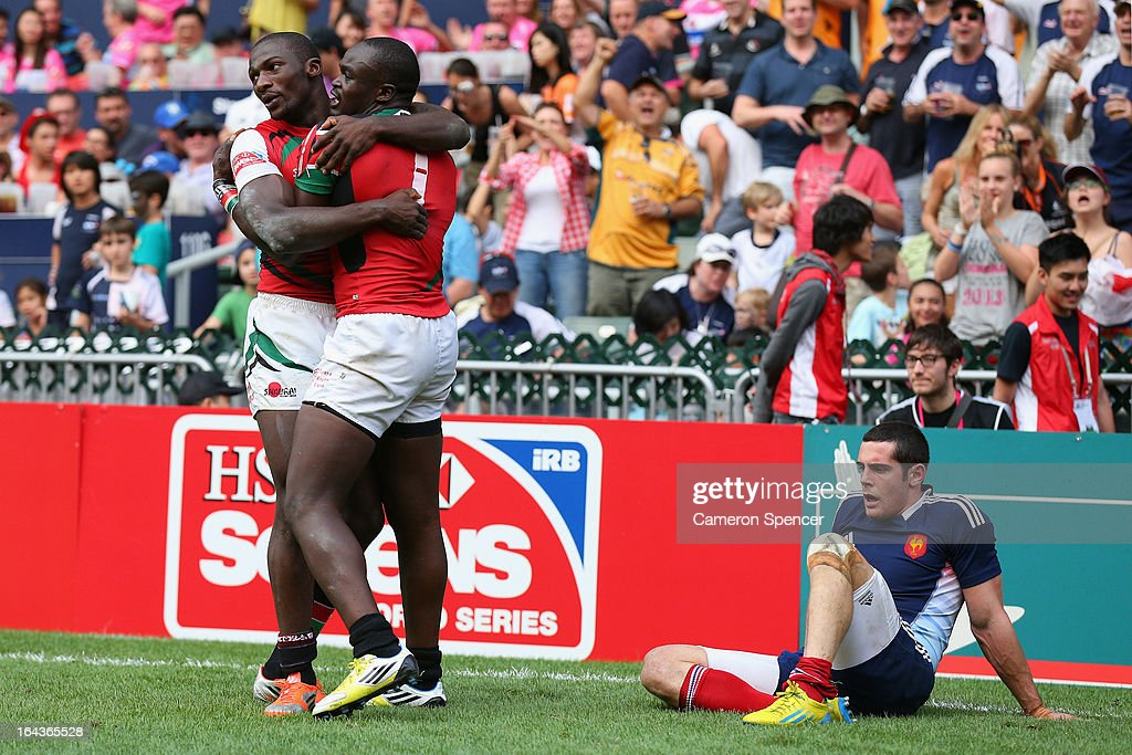 Horace Otieno of Kenya is congratulated by team mate Dennis Ombachi after scoring a try during the match between France and Kenya during day two of the 2013 Hong Kong Sevens at Hong Kong Stadium on March 23, 2013 in So Kon Po, Hong Kong.