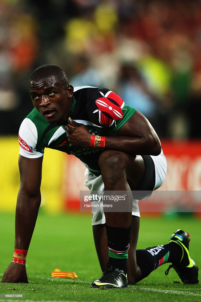 Horace Otieno of Kenya looks on after losing the grand final between England and Kenya during the 2013 Wellington Sevens at Westpac Stadium on February 2, 2013 in Wellington, New Zealand.