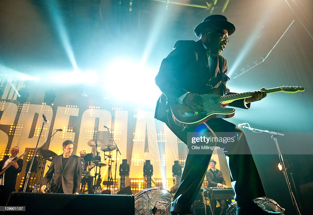 Horace Panter, Terry Hall and Lynval Golding of The Specials perform onstage at Nottingham Capital FM Arena on October 21, 2011 in Nottingham, United Kingdom.