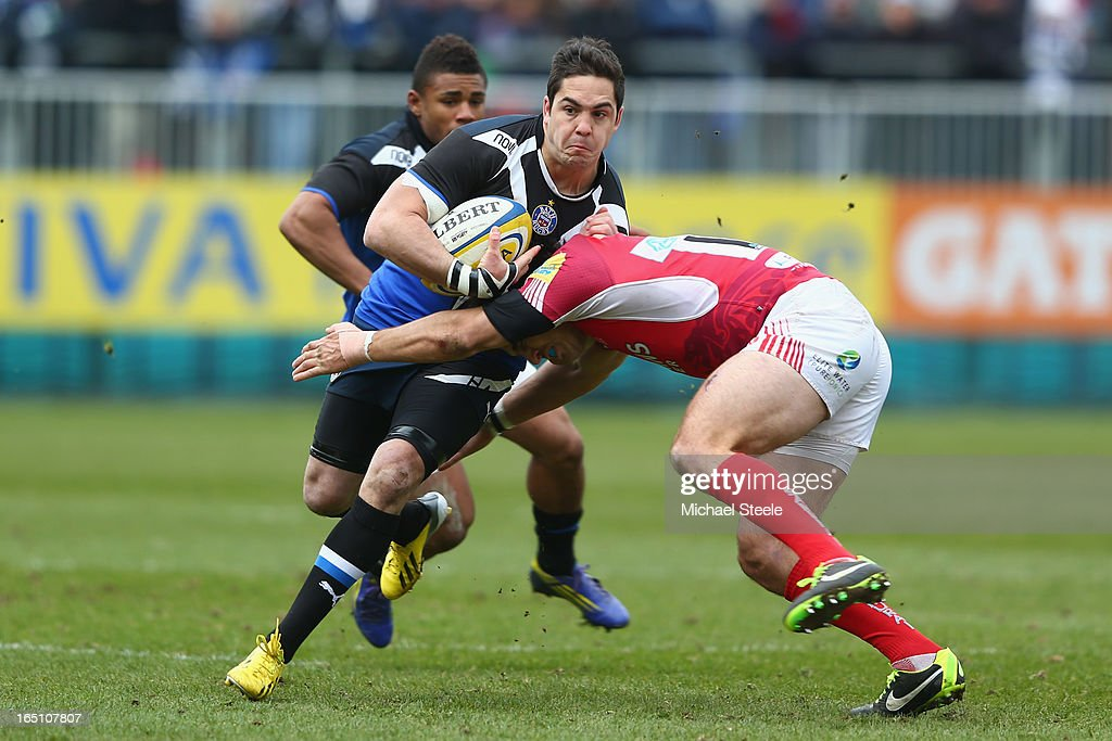 Horacio Agulla (L) of Bath during the Aviva Premiership match between Bath and London Welsh at the Recreation Ground on March 30, 2013 in Bath, England.