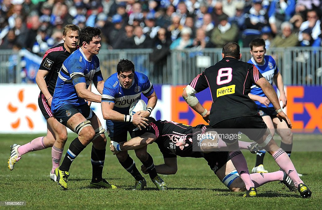 Horacio Agulla of Bath in action during the Amlin Challenge Cup Quarter Final match between Bath and Stade Francais at the Recreation Ground on April 06, 2013 in Bath, England.
