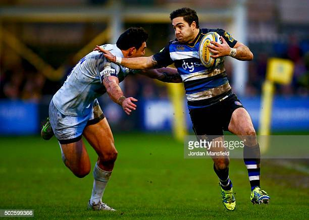 Horacio Agulla of Bath is tackled by Bryce Heem of Worcester during the Aviva Premiership match between Bath Rugby and Worcester Warriors at the...