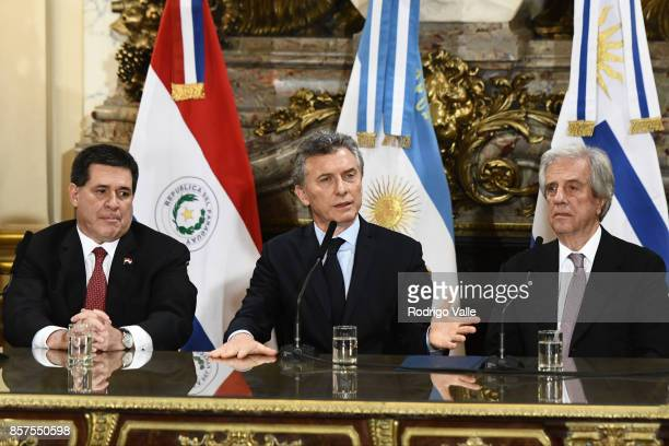 Horacio Cartes president of Paraguay Mauricio Macri president of Argentina and Tabaré Vazquez president of Uruguay during a press conference at Casa...