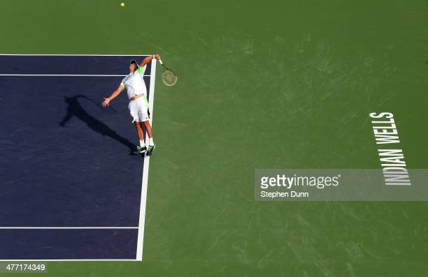 Horacio Ceballos of Argentina serves to Rajeev Ram during the BNP Paribas Open at Indian Wells Tennis Garden on March 7 2014 in Indian Wells...