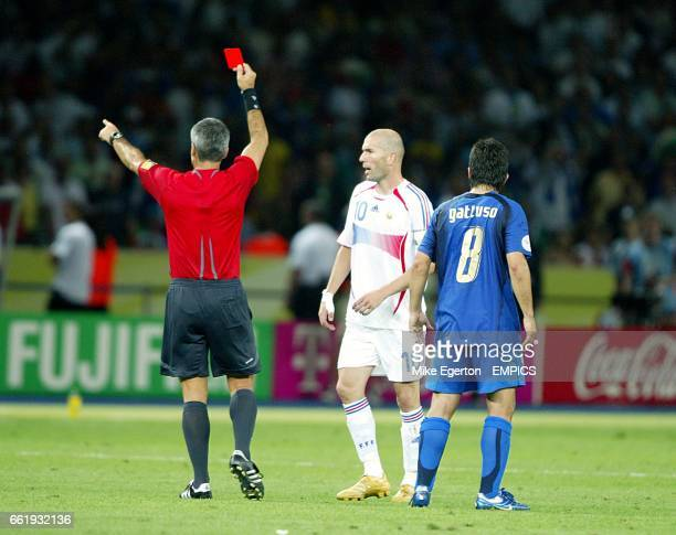 Horacio Marcelo Elizondo shows the red card toFrance's Zinedine Zidane after he head butted Italy Marco Materazzi