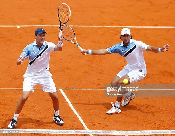 Horacio Zeballos and Eduardo Schwank of Argentina in action during a match between Argentina and Italy as part of day 2 of the Davis Cup at...