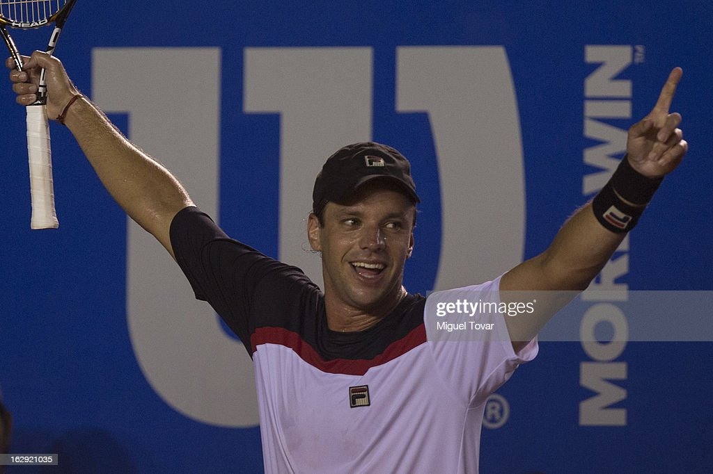 Horacio Zeballos from Argentina gestures during a tennis match against Nicolas Almagro from Spain as part of the Mexican Tennis Open Acapulco 2013 at Pacific resort on February 28, 2013 in Acapulco, Mexico.