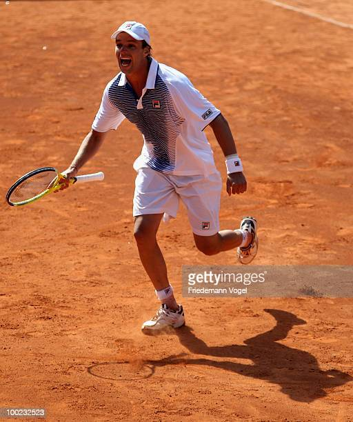 Horacio Zeballos of Argentina celebrates after winning his final match against Robby Ginepri of USA during day seven of the ARAG World Team Cup at...