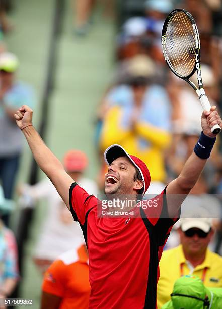 Horacio Zeballos of Argentina celebrates to the crowd after his straight sets victory against Juan Martin Del Potro of Argentina in their second...