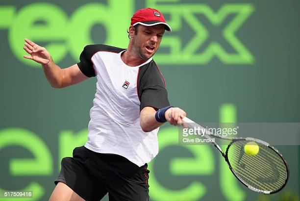 Horacio Zeballos of Argentina in action against Juan Martin Del Potro of Argentina in their second round match during the Miami Open Presented by...