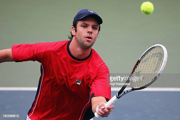 Horacio Zeballos of Argentina in action during his men's first round match against Ryan Harrison of the United States during day two of the Rakuten...