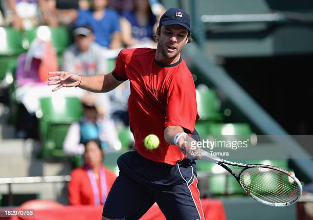 Horacio Zeballos of Argentina in action during men's second round singles match against Nicolas Almagro of Spain during day four of the Rakuten Open...