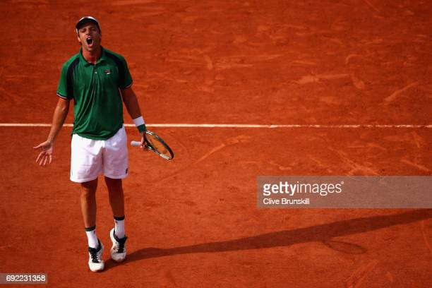 Horacio Zeballos of Argentina reacts during the mens singles fourth round match against Dominic Thiem of Austria on day eight of the 2017 French Open...