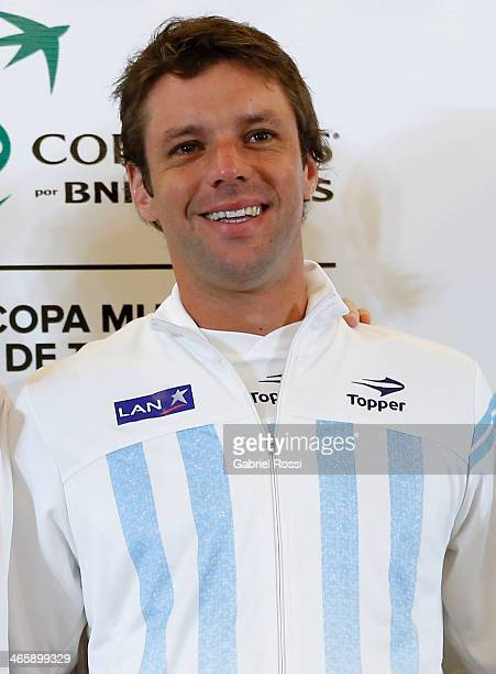 Horacio Zeballos of Argentine smiles during the Copa Davis Draw between Argentina and Italy as part of the Copa Davis at NH Hotel on January 30 2014...