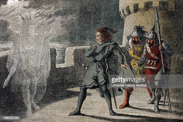 Horatio Marcellus and Hamlet encounter the ghost of the late King Hamlet in Act 1 Scene 4 of William Shakespeare's play 'Hamlet' Chromolithograph...