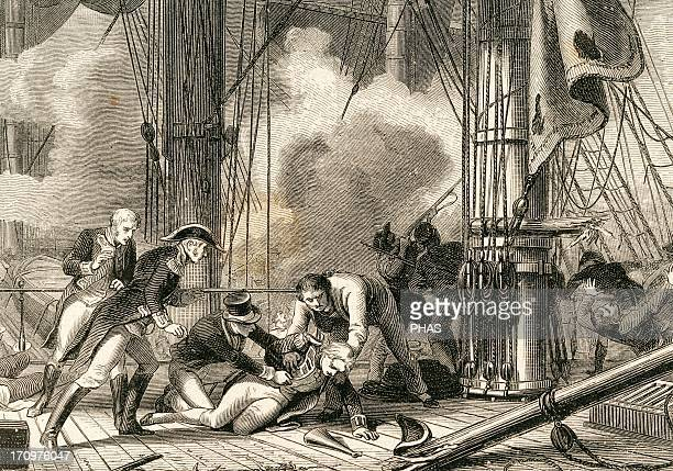 Horatio Nelson British Viceadmiral Death of Nelson at the Battle of Trafalgar 1805 Engraving