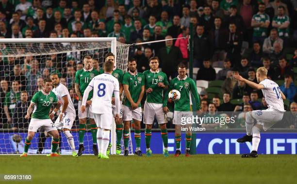 Hordur Magnusson of Iceland scores the opening goal during the International Friendly match between Republic of Ireland and Iceland at Aviva Stadium...