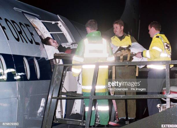 Horifically injured Eldin Esovic arrives at RAF Brize Norton after a specially adapted RAF VC10 jet flew the Bosnian boy from wartorn Sarajevo for...