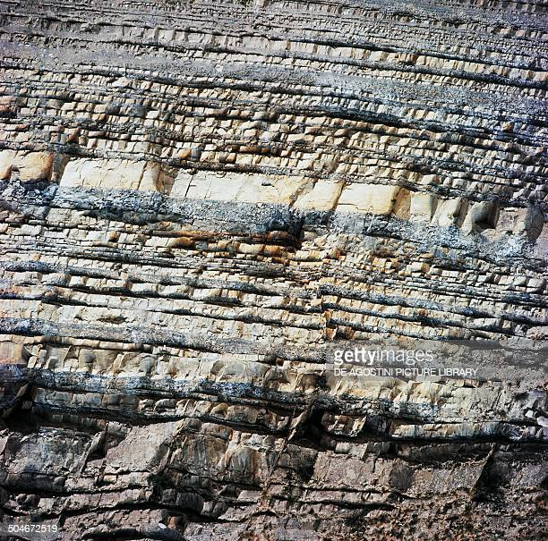 Horizontal layers of compact sandstone along Santerno river Cognale Tuscany Italy