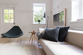 Horizontal of luxury neutral interior designed living room