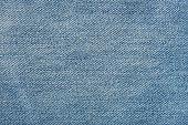 Horizontal texture of light blue jeans close up