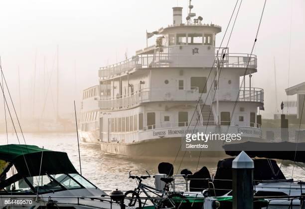 Hornblower Empress Docked in Misty Berkeley Marina