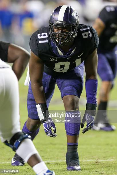 Horned Frogs defensive tackle LJ Collier lines up on the end of the line during the football game between the Kansas Jayhawks and TCU Horned Frogs on...