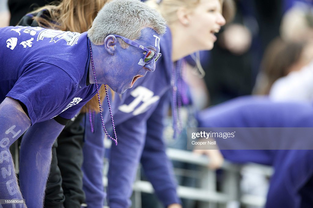 Horned Frogs fan cheers during the Big 12 Conference game against the Iowa State Cyclones on October 6, 2012 at Amon G. Carter Stadium in Fort Worth, Texas.