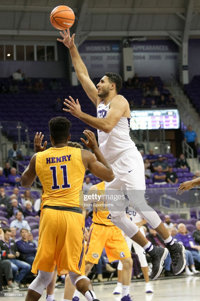TCU Horned Frogs forward Ahmed Hamdy-Mohamed (23) goes to the basket during the game between the Tennessee Tech Golden Eagles and TCU Horned Frogs on November 13, 2017 at Ed & Rae Schollmaier Arena in Fort Worth, TX.