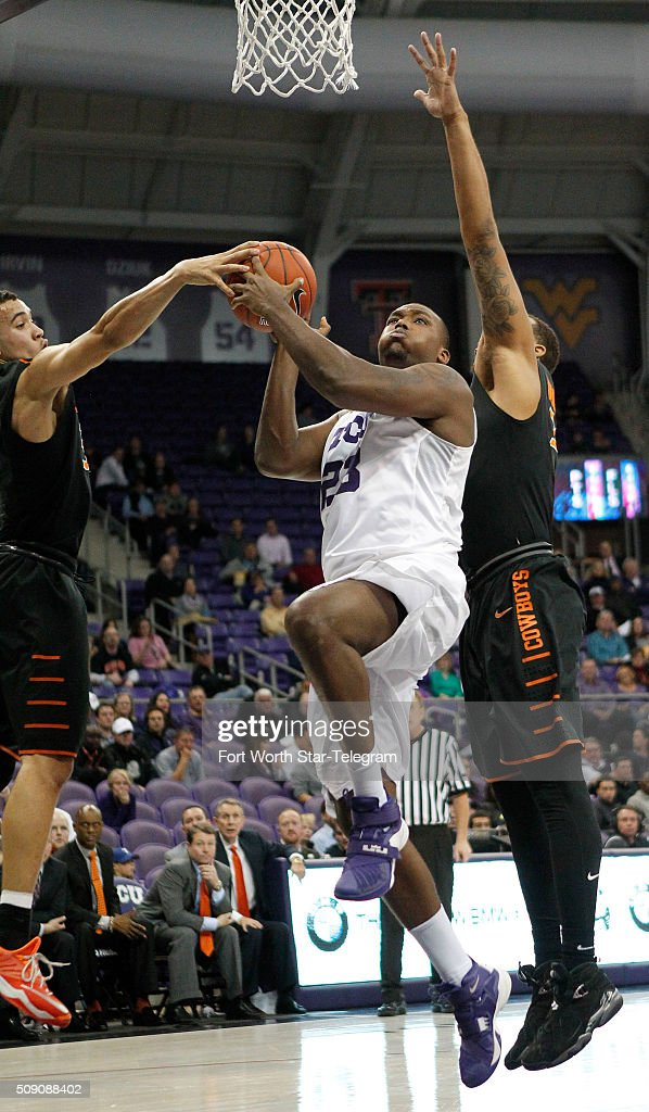 TCU Horned Frogs forward Devonta Abron (23) on a layup under the basket during the second half on Monday, Feb. 8, 2016, at Ed & Rae Schollmaier Arena in Fort Worth, Texas.
