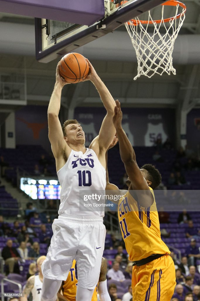 TCU Horned Frogs forward Vladimir Brodziansky (10) goes to the rim with Tennessee Tech Golden Eagles center Micaiah Henry (11) defending during the game between the Tennessee Tech Golden Eagles and TCU Horned Frogs on November 13, 2017 at Ed & Rae Schollmaier Arena in Fort Worth, TX.