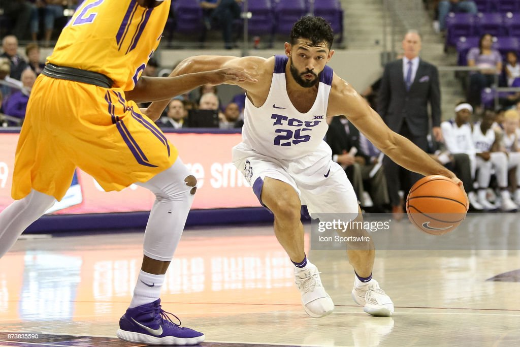 TCU Horned Frogs guard Alex Robinson (25) drives the lane during the game between the Tennessee Tech Golden Eagles and TCU Horned Frogs on November 13, 2017 at Ed & Rae Schollmaier Arena in Fort Worth, TX.
