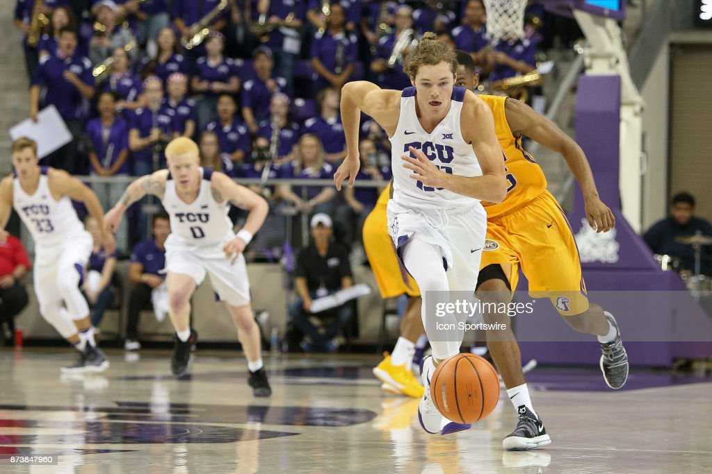 TCU Horned Frogs guard Dalton Dry (20) chases a loose ball during the game between the Tennessee Tech Golden Eagles and TCU Horned Frogs on November 13, 2017 at Ed & Rae Schollmaier Arena in Fort Worth, TX.