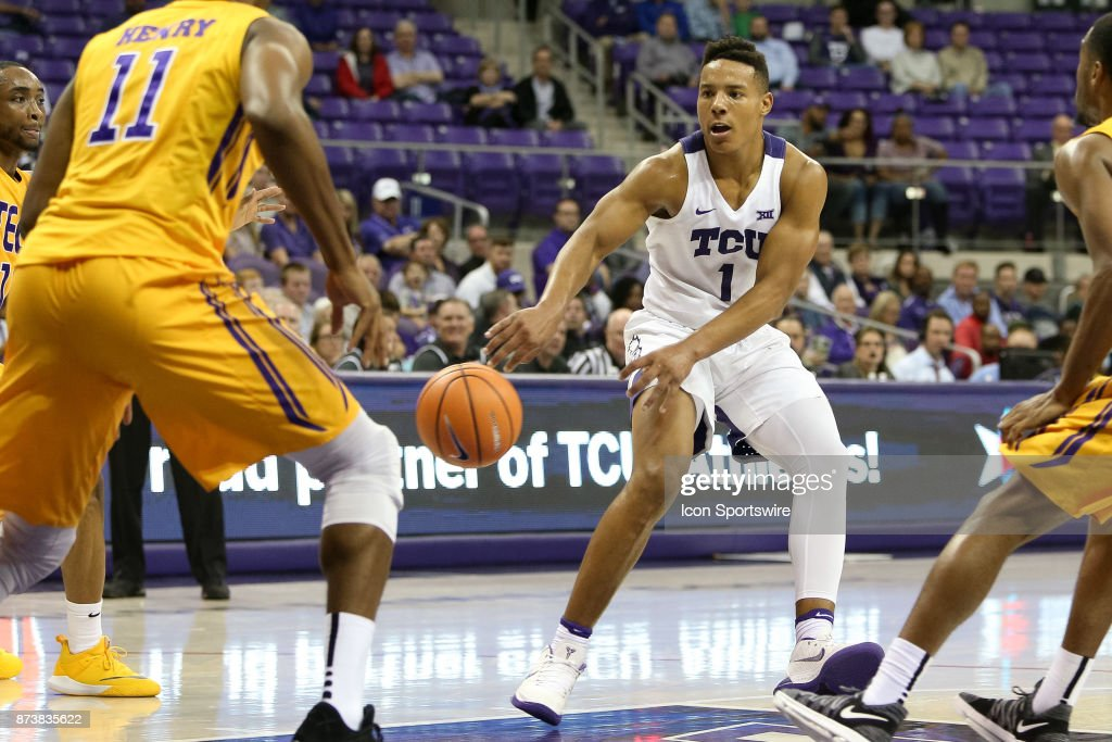 TCU Horned Frogs guard Desmond Bane (1) makes a bounce pass in the lane during the game between the Tennessee Tech Golden Eagles and TCU Horned Frogs on November 13, 2017 at Ed & Rae Schollmaier Arena in Fort Worth, TX.