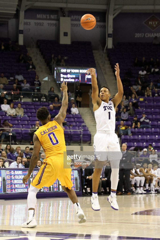 TCU Horned Frogs guard Desmond Bane (1) shoots a 3-pointer over Tennessee Tech Golden Eagles guard Shaq Calhoun (0) during the game between the Tennessee Tech Golden Eagles and TCU Horned Frogs on November 13, 2017 at Ed & Rae Schollmaier Arena in Fort Worth, TX.