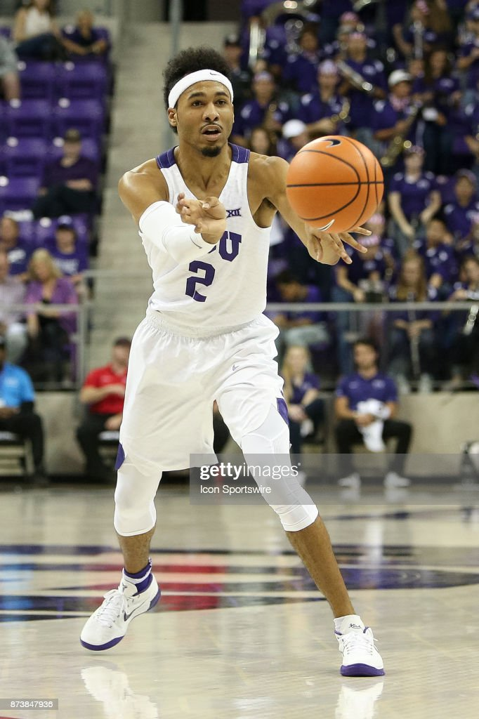 TCU Horned Frogs guard Shawn Olden (2) makes a pass during the game between the Tennessee Tech Golden Eagles and TCU Horned Frogs on November 13, 2017 at Ed & Rae Schollmaier Arena in Fort Worth, TX.