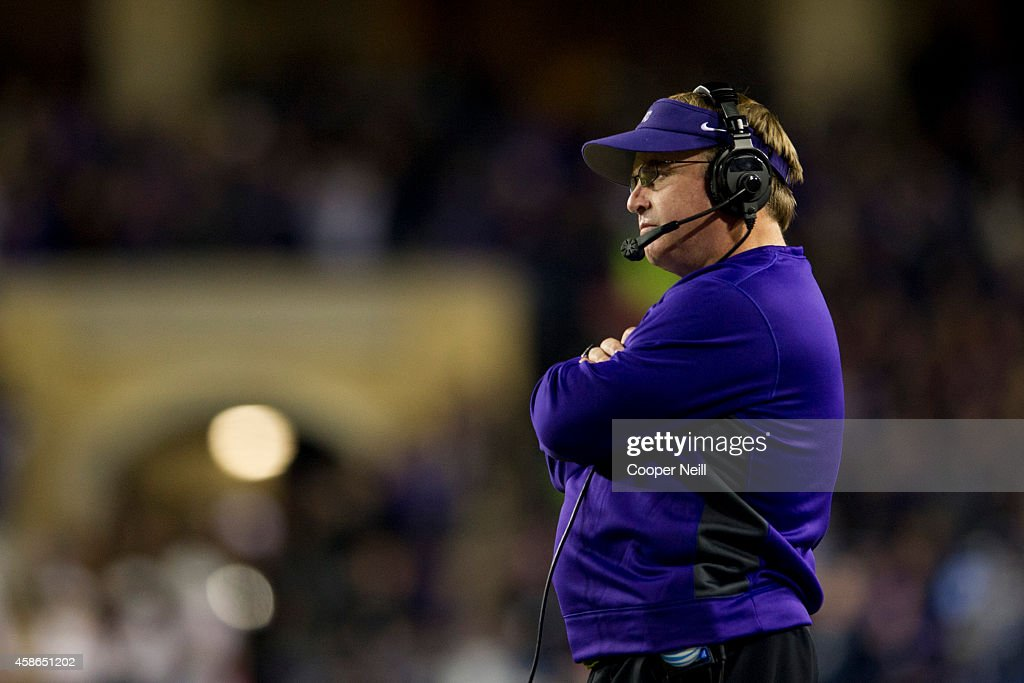 Horned Frogs head coach <a gi-track='captionPersonalityLinkClicked' href=/galleries/search?phrase=Gary+Patterson&family=editorial&specificpeople=2248368 ng-click='$event.stopPropagation()'>Gary Patterson</a> looks on against the Kansas State Wildcats during the 1st quarter on November 8, 2014 at Amon G. Carter Stadium in Fort Worth, Texas.