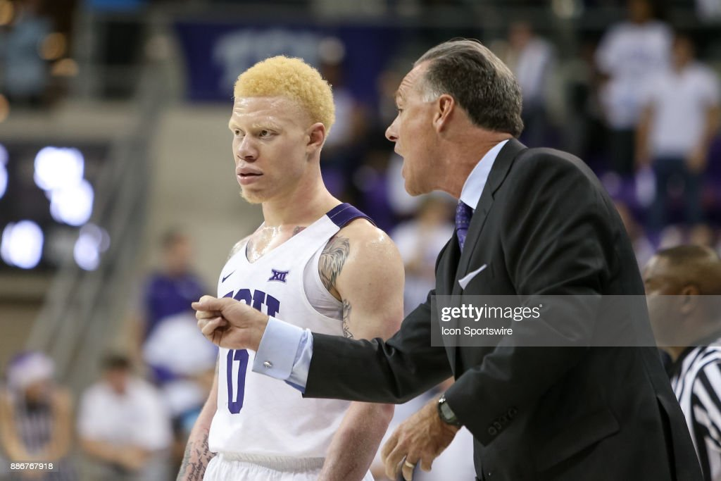 TCU Horned Frogs head coach Jamie Dixon gives guard Jaylen Fisher (0) directions during the game between the SMU Mustangs and TCU Horned Frogs on December 5, 2017 at Ed & Rae Schollmaier Arena in Fort Worth, TX.