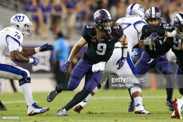 Horned Frogs wide receiver John Diarse breaks through the line to get a sack during the football game between the Kansas Jayhawks and TCU Horned...