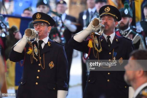 Horns are played during the Last Post ceremony which has taken place every night since 1928 at the Commonwealth War Graves Commission Ypres Memorial...
