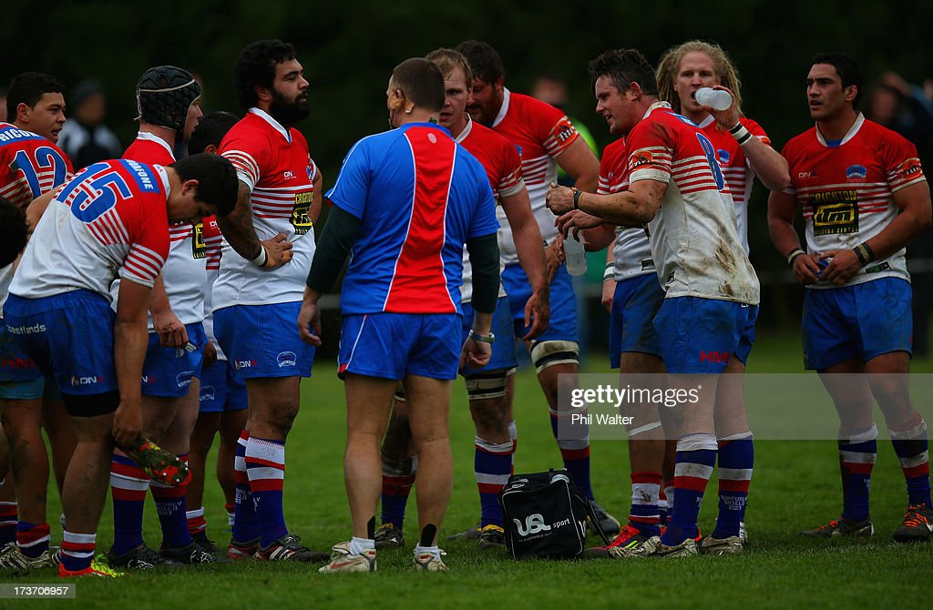 Horowhenua-Kapiti re-group during the Ranfurly Shield match between Waikato and Horowhenua-Kapiti at the Morrinsville Domain on July 17, 2013 in Morrinsville, New Zealand.
