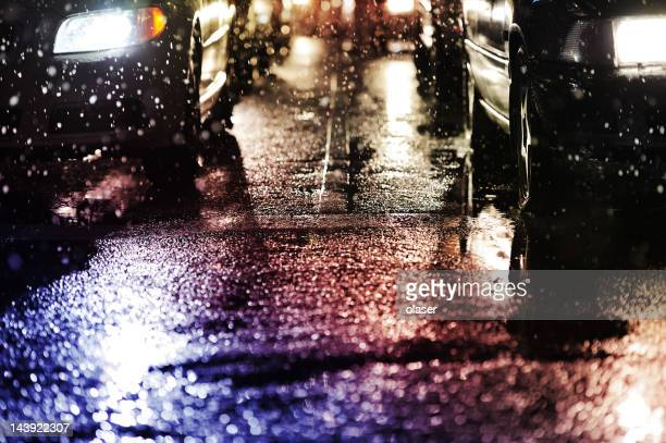 Horrible weather, snow and rain in the evening traffic